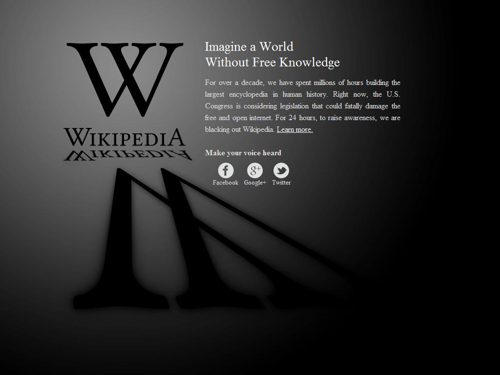 Wikipedia Anti-SOPA Blackout Design